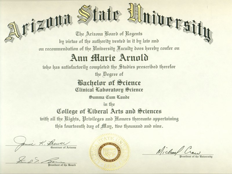 Ann Marie Arnold Certifications